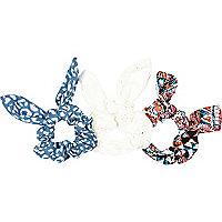 Girls blue leopard print scrunchie 3 pack