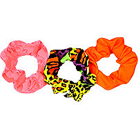 Girls fluro animal print scrunchie 3 pack