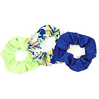 Girls green tropical scrunchie 3 pack