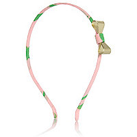 Girls pink metal bow aliceband