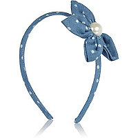 Girls blue denim flower aliceband