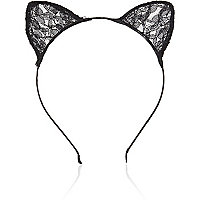 Girls black lace animal ear headband