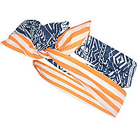 Girls orange and denim wire headband 2 pack