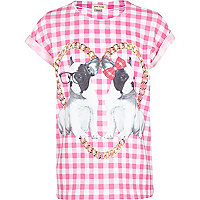Girls pink chain and bulldog print t-shirt
