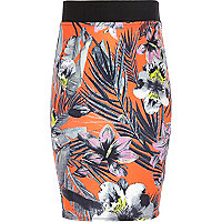 Girls coral tropical print tube skirt