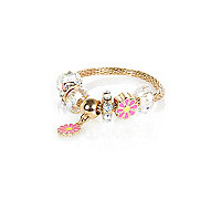 Girls gold tone pink flower charm bracelet