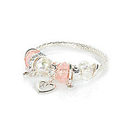 Girls pink moveable charm bracelet