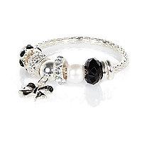 Girls silver tone mono charm bracelet