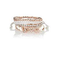 Girls rose gold tone friendship bracelet pack