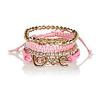 Girls gold tone friendship bracelet pack