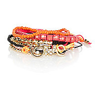 Girls neon orange love bracelet pack