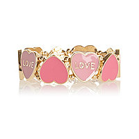 Girls gold tone pastel pink heart bracelet