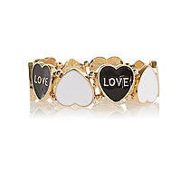 Girls gold tone black heart bracelet