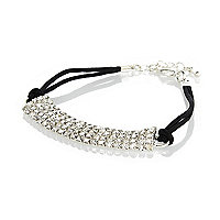 Girls black rope diamanté bracelet