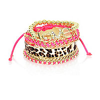 Girls gold tone pink bangle pack
