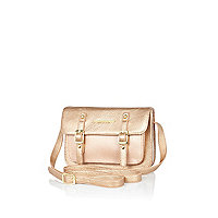 Girls gold metallic satchel