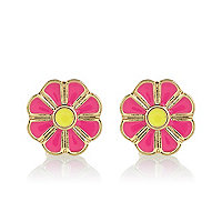 Girls pink flower stud earrings