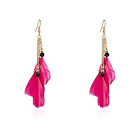 Girls pink feather earrings