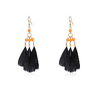 Girls black feather earrings