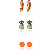 Girls tropical 3 pack earrings