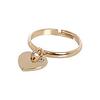 Girls gold tone heart ring