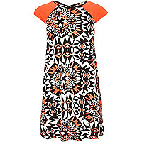 Girls fluro orange aztec print dress