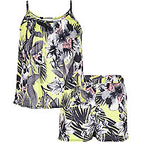 Girls green tropical print vest and short set