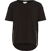 Girls black zip front t-shirt