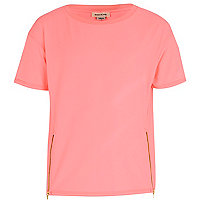 Girls pink zip front t-shirt