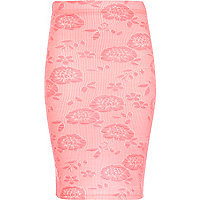 Girls pink floral tube skirt