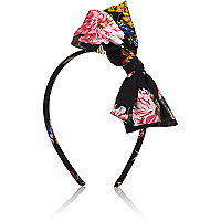 Girls black floral bow headband