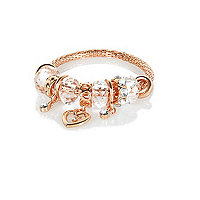Girls rose gold tone moveable charm bracelet