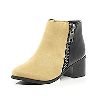 Girls black two-tone ankle boots