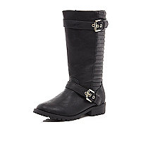 Girls black quilted knee high boots