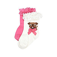 Mini girls white and pink pug socks 2 pack