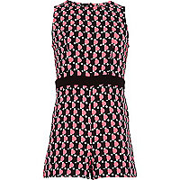 Girls black geo spot playsuit