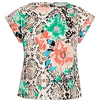 Girls cream flower snake print box top