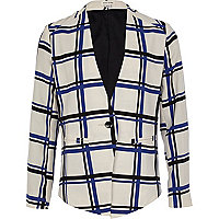Girls white check blazer