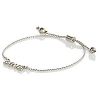 Girls silver tone love chain bracelet