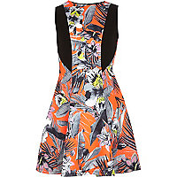 Girls orange tropical fit and flare dress