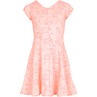 Girls pink floral fit and flare dress