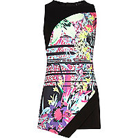 Girls black tropical print skort playsuit