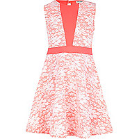 Girls pink lace bonded skater dress
