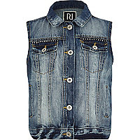 Girls medium wash denim gilet