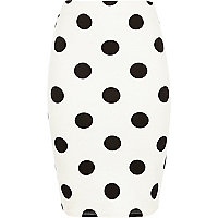 Girls cream polka dot tube skirt