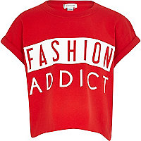 Girls red gloss fashion addict t-shirt