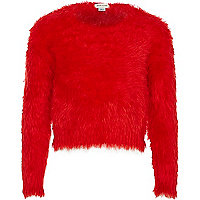 Girls red fluffy jumper