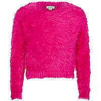 Girls bright pink fluffy jumper