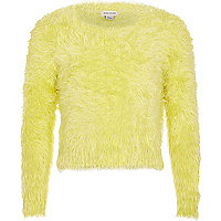 Girls lime fluffy jumper