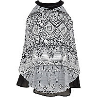 Girls black tribal print cami top